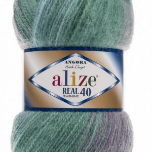 Fir de tricotat sau crosetat - Fire tip mohair din acril Alize Angora Real 40 Batik degrade 6915