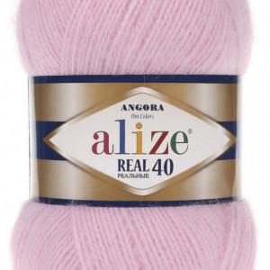 Fir de tricotat sau crosetat - Fire tip mohair din acril Alize Angora Real 40 Roz 185