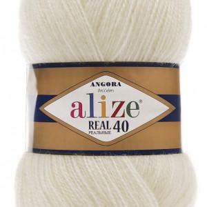 Fir de tricotat sau crosetat - Fire tip mohair din acril Alize Angora Real 40 Cream 450