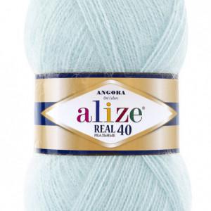 Fir de tricotat sau crosetat - Fire tip mohair din acril Alize Angora Real 40 Vernil 522