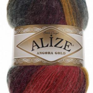 Fir de tricotat sau crosetat - Fire tip mohair din acril Alize Angora Gold Batik degrade 3368