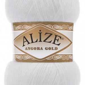 Fir de tricotat sau crosetat - Fire tip mohair din acril Alize Angora Gold Alb 55