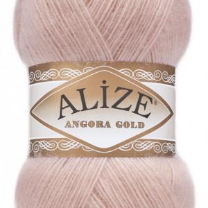 Fir de tricotat sau crosetat - Fire tip mohair din acril Alize Angora Gold Pudra 161