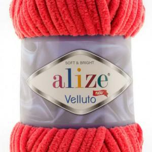 Fir de tricotat sau crosetat - Fire tip mohair din acril ALIZE VELLUTO ROSU 56
