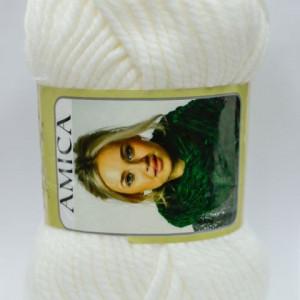 Fir de tricotat sau crosetat - Fire tip mohair din acril AMICA ALB - 302