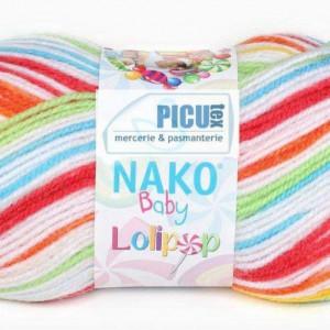 Fir de tricotat sau crosetat - Fire tip mohair din acril degrade Nako Lolipop mix 80532