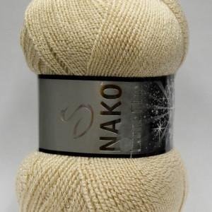 Fir de tricotat sau crosetat - Fire tip mohair din acril si poliester metalic NAKO LAME FINE CREM 4671A