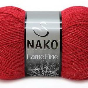 Fir de tricotat sau crosetat - Fire tip mohair din acril si poliester metalic NAKO LAME FINE ROSU 251K