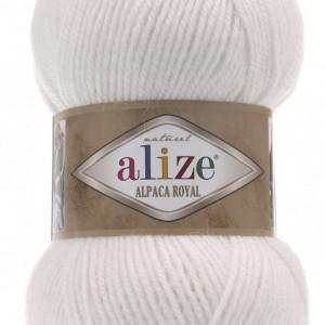 Fir de tricotat sau crosetat - Fire tip mohair din alpaca 30%, lana 15%, acril 55% Alize Alpaca Royal ALB 55