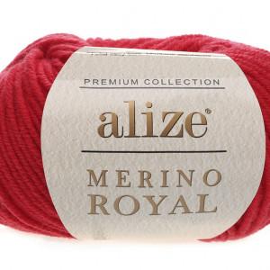 Fir de tricotat sau crosetat - Fire tip mohair din lana 100%, ALIZE MERINO ROYAL ROSU 56