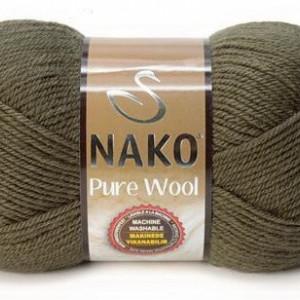 Fir de tricotat sau crosetat - Fire tip mohair din lana 100% Nako PURE WOOL KAKI 10728
