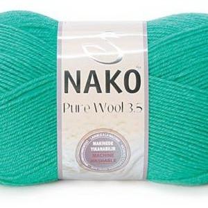 Fir de tricotat sau crosetat - Fire tip mohair din lana 100% Nako PURE WOOL 3,5 VERDE 1130