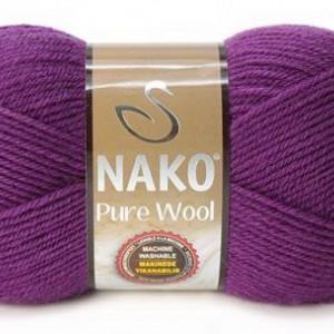 Fir de tricotat sau crosetat - Fire tip mohair din lana 100% Nako PURE WOOL MOV 60