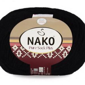 Fir de tricotat sau crosetat - Fire tip mohair din lana si polyamida Nako PURE SOCK PLUS NEGRU 217