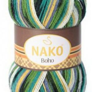 Fir de tricotat sau crosetat - Fire tip mohair din lana si polyamida Nako BOHO mix 81267
