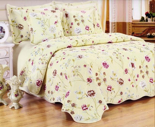 Cuvertura de pat matlasata din bumbac brodat + fete perna ES15