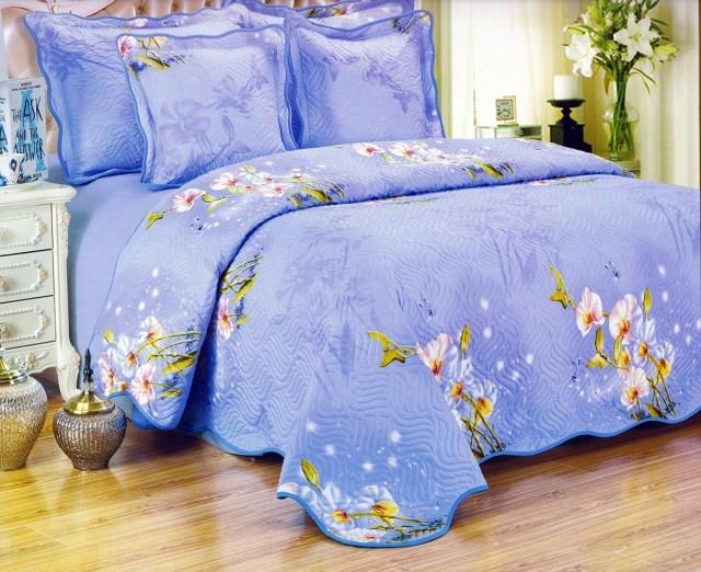 Cuvertura de pat matlasata din bumbac brodat + fete perna ES13