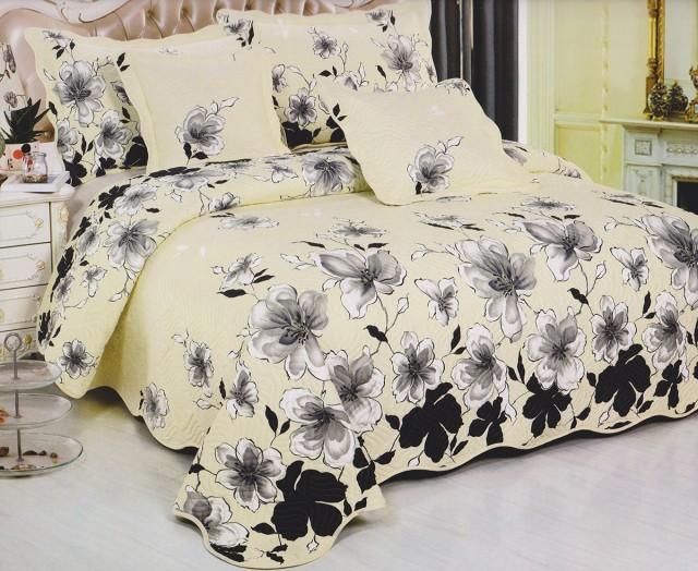Cuvertura de pat matlasata din bumbac brodat + fete perna ES04