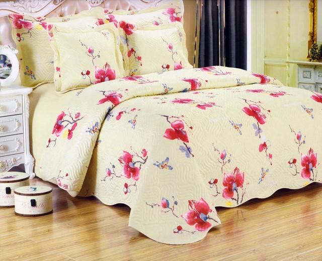 Cuvertura de pat matlasata din bumbac brodat + fete perna ES14