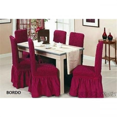 Set 6 huse elastice pentru scaune, cu volanas, Bordo