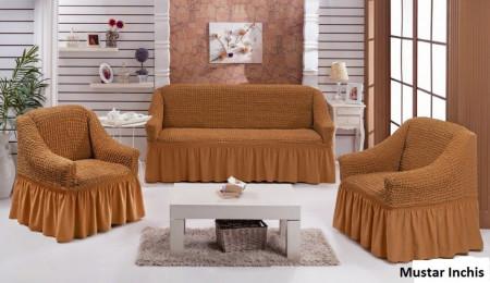 Set huse canapea 3 Locuri si doua fotolii - 3.1.1. - Mustar Inchis