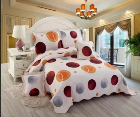 Cuvertura de pat din bumbac matlasat imprimat + 4 fete perna ES115