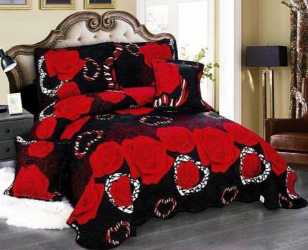 Cuvertura de pat din bumbac matlasat imprimat + 4 fete perna ES87