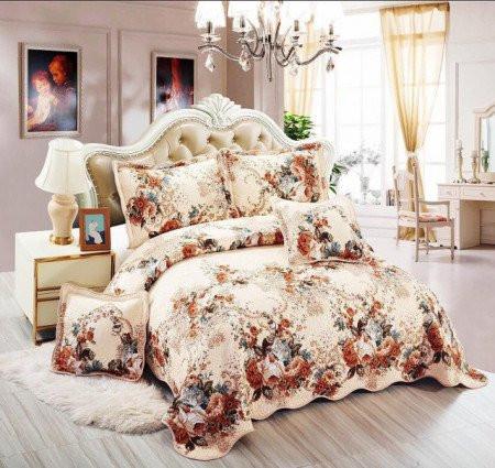 Cuvertura de pat din bumbac matlasat imprimat + 4 fete perna ES97