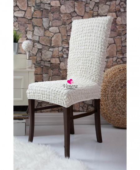 Set 6 huse elastice pentru scaune, fara volanas, Crem
