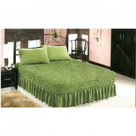 Set husa pat si doua fete de perna elestice si creponate - culoare Verde