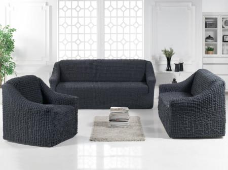 Set huse elastice pentru canapea 3 locuri, canapea 2 locuri si 1 fotoliu, fara volanas, Cenusiu