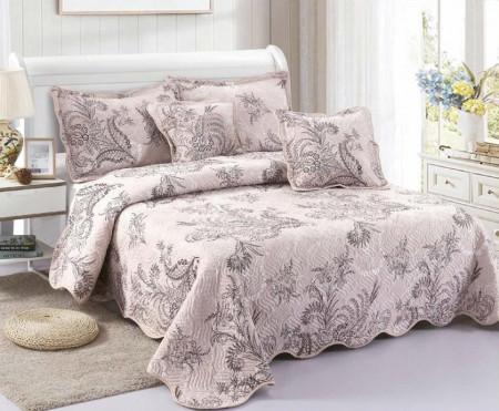 Cuvertura de pat din bumbac matlasat imprimat + 4 fete perna ES28