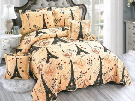 Cuvertura de pat din bumbac matlasat imprimat + 4 fete perna ES89