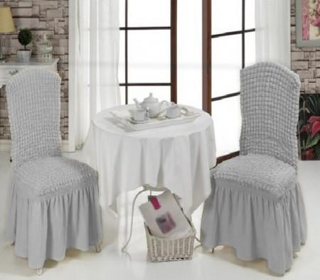 Set 6 huse elastice pentru scaune, cu volanas, Gri