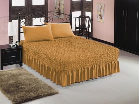 Set husa pat si doua fete de perna elestice si creponate - culoare Mustar Inchis