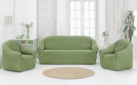 Set huse elastice pentru canapea 3 locuri, canapea 2 locuri si 1 fotoliu, fara volanas, Verde