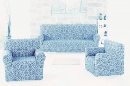 Set huse Multielastice Jacquard pentru canapea 3 Locuri si 2 fotolii, fara volanas, Bleu