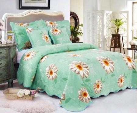 Cuvertura de pat din bumbac matlasat imprimat + 4 fete perna ES16