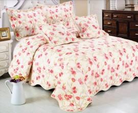 Cuvertura de pat matlasata din bumbac brodat + fete perna ES01