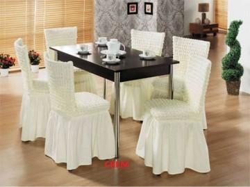 Set 6 huse elastice pentru scaune, cu volanas, Crem
