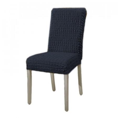 Set 6 huse elastice pentru scaune, fara volanas, Cenusiu