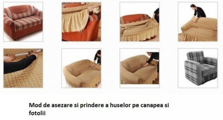 Set huse elastice pentru canapea 3 locuri, canapea 2 locuri si 2 fotolii, fara volanas, mustar inchis