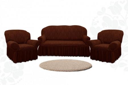 Set huse Multielastice Jacquard pentru canapea 3 Locuri, canapea 2 Locuri si 2 fotolii, cu volanas, Maro
