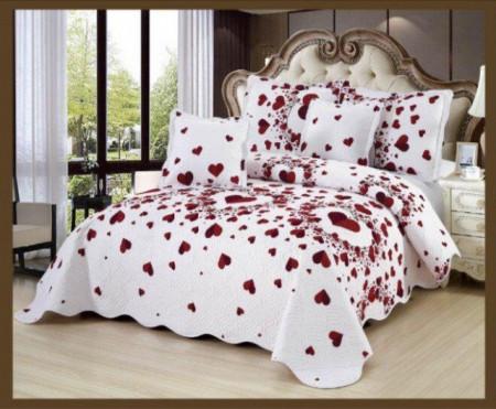 Cuvertura de pat din bumbac matlasat imprimat + 4 fete perna ES73