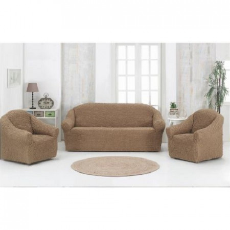 Set huse elastice pentru canapea 3 locuri, canapea 2 locuri si 1 fotoliu, fara volanas, Bej Cacao cu lapte