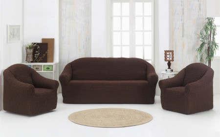Set huse elastice pentru canapea 3 locuri, canapea 2 locuri si 1 fotoliu, fara volanas, Maro
