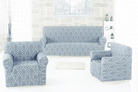 Set huse Multielastice Jacquard pentru canapea 3 Locuri, canapea 2 Locuri si 2 fotolii, fara volanas, Gri