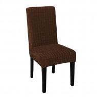 Set 6 huse elastice pentru scaune, fara volanas, Maro