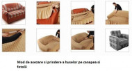 Set huse Multielastice Jacquard pentru canapea 3 Locuri, canapea 2 Locuri si 2 fotolii, cu volanas, Bordo