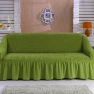 Husa elastica cu volanas pentru coltar cu brat pe partea stanga, culoare Verde